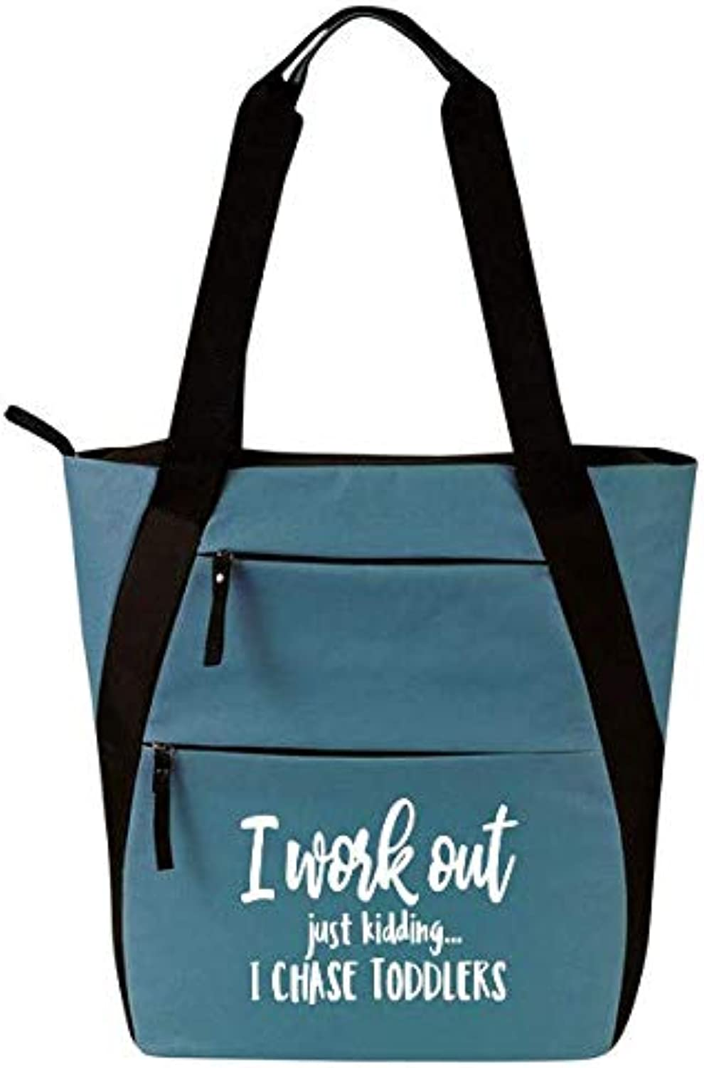 Gym Tote Bag for Women  Workout Tote  Funny Gym Fitness Sayings  Fitness Tote Bag for Women (Gym Tote Bag, I Work Out J K I Chase Toddlers blueee)