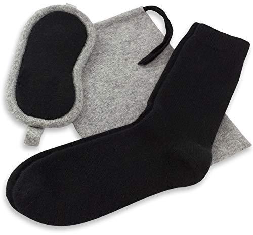 Jet&Bo Women's 100% Pure Cashmere Travel Kit: Eye Mask, Socks & Pouch in Gift Box
