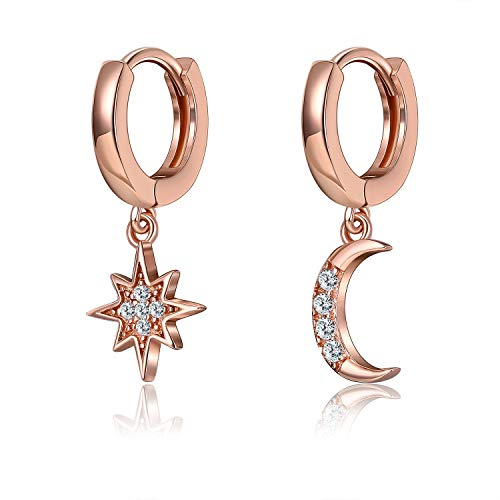 Women's Huggie hoop earrings with moon and star pendant gold-plated 925 sterling silver earrings dangle drop earrings jewelry gift for women and girls(rosegold)