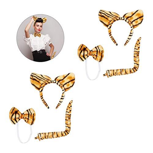 Relaxdays 2 x Tigerohren Set 3-teilig, Plüschohren Haarreif, Tigerschwanz, Fliege, Kostüm Zubehör Fasching & Karneval, braun