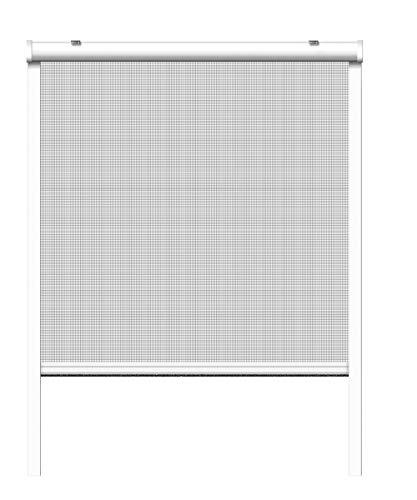 Schellenberg 70890 Insektenschutzrollo für Fenster 100 x 160 cm Weiß, Fiberglas Fliegengitter mit Rahmen & Kassette aus Aluminium