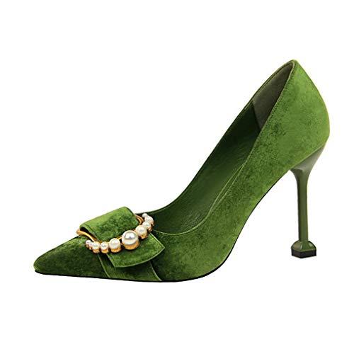 Damen Stöckelschuhe mit Spitzen Zehen und hohem Absatz für Hochzeitsfeiern, Bequeme Pumps