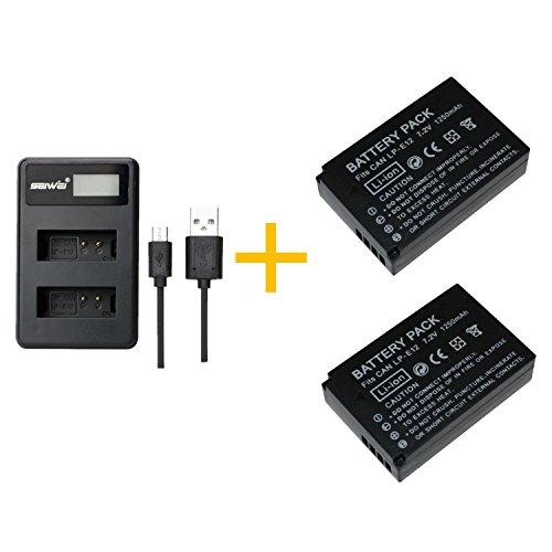 2 Piezas 1200 mAh LP-E12 LPE12 Batería con Cargador de batería para Canon EOS M100, Rebel SL1, EOS 100D, EOS M, EOS M2, EOS M10 Cámaras Digitales (2 pcs Battery with Charger)