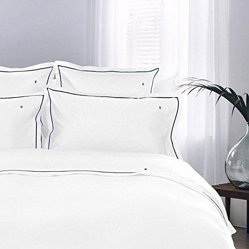 Tommy Hilfiger Juego de cama (1 funda nórdica de 155 x 220 cm y 1 funda de almohada de 80 x 80 cm), color blanco