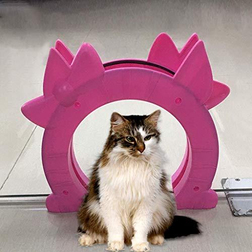 8bayfa Haustiertür Katzenklappe Passend Innenhohlkern Glas Massiv Tür 2 Way Pet Tor Loch versteckte Toilette im Keller Waschraum (Farbe: weiß) (Color : Pink)