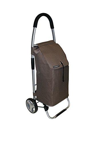 Faltbarer XL Shopping Trolley mit 40 Liter Volumen. Mit Alu-Gestänge, Polyester Tasche in Braun, Kordelzug und großen Rädern. Top!