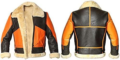 Chaqueta de piel de oveja auténtica para hombre, estilo bombardero, aviador B3 de la Segunda Guerra Mundial, de lana gruesa interior/interior