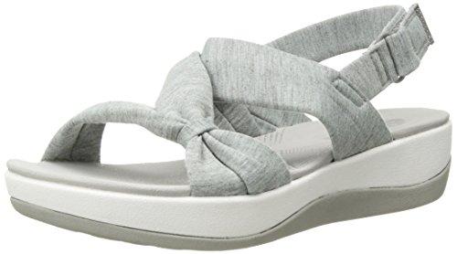 Clarks Women's Arla Primrose Sandal, Grey Heathered Fabric, 8.5 Medium US