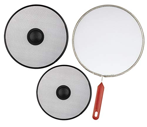 Cooking Splatter Screen for Frying Pan - Set of 3: 8.2', 10' and 11.4' - Stainless Steel Oil Grease Platter Guard - Anti Splash Flat Fry Spatter Strainer for Stove Top