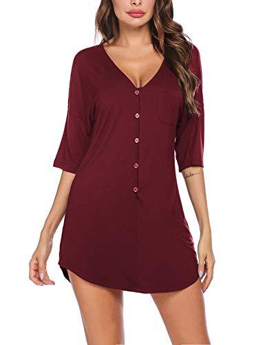Ekouaer Nachthemd mit Knopfleiste, kurz, V-Ausschnitt, Nacht-Shirts, Damen, Boyfriend-Nachtwäsche, S-XXL - Weinrot, size: X-Groß