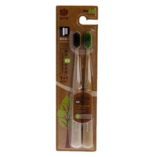 Green Tea Nano Carbon Bambus-Zahnbürste, ultradünn, 0,01 mm, weich, tiefenreinigend, 2 Stück