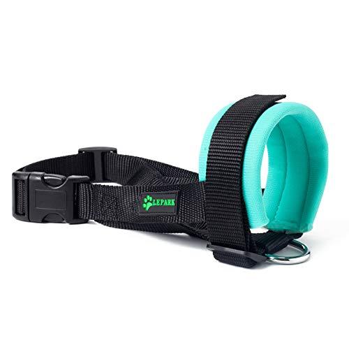 ILEPARK Maulkorb aus Stoff für Kleine,Mittlere und Große Hund,Verhindert Beisen, anpassbare Hals, Atmungsaktiv(M,Grün)