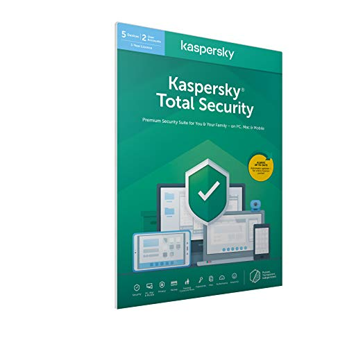 Kaspersky Total Security 2020 | 5 Dispositivi | 1 Anno | PC/Mac/Android | Imballaggio Apertura Facile Certificato
