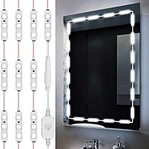 Led Mirror Lights, Silikang Vanity Make Up Strip Light, 10ft Ultra Bright White LED, Dimmable Touch Control Dressing Lights, for Makeup Table & Bathroom Mirror, ETL Listed (Mirror Not Included)