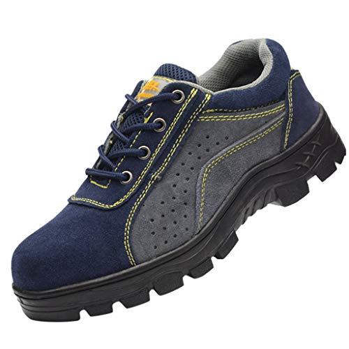 Atmungsaktive Stahl-Zehenkappen, Sicherheitsschuhe für Damen und Herren, BaojunHT® leichte Arbeits-Sneaker für BAU, Industrie, Sport, Blau - blau - Größe: 41 EU