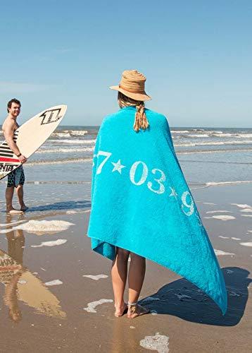 S< Strandtuch mit Name - personalisierte Bedrucking - XXL Saunatuch - Strandtuch 100x200 aus Baumwolle (Aquablau)