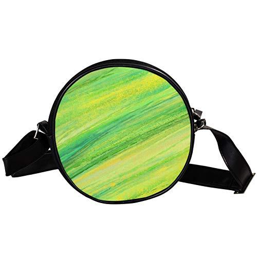 Borsa a tracolla rotonda piccola da donna, alla moda, borsa a tracolla in tela, accessori per le donne - astratto dipinto verde
