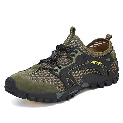 Flarut Sandalias Deportivas Trekking Hombres Verano Pescador Playa Zapatos Casuales Transpirable Zapatilla de Senderismo Deportes Montaña y Asfalto Zapatos para Correr Malla(Verde,44)
