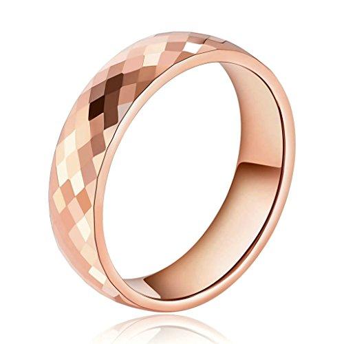 Daesar Joyería Anillo Acero de Tungsteno Hombre Diamante Forma Alianzas Boda Compromiso Pedida Oro Rosa Talla 27