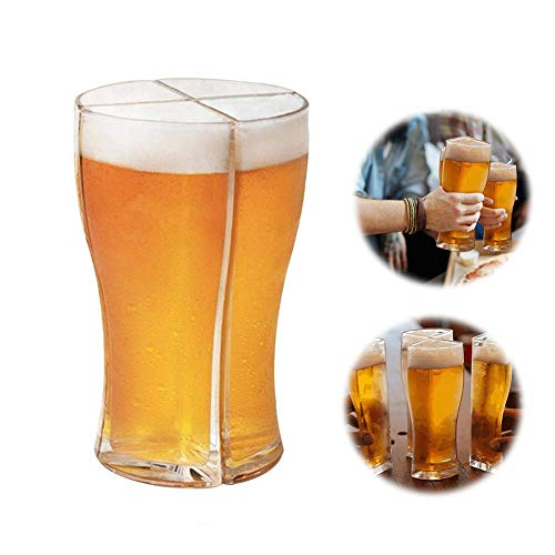 XIAOMING Bierglas Spender Spender Trinkspiele Schnapsgläser Get Party Started Cocktail Spender Super Schooner Viertel Bierkrug Kunststoff Nicht zerbrechliches kreatives Weinglas (L)