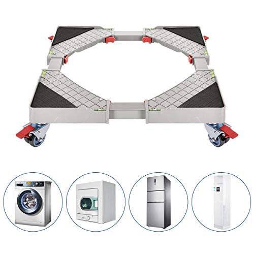 Fridge Stand Furniture Adjustable Dolly with 4 Double Wheels Movable Base Multi-functional Appliance Dolly for Dryer, Washing Machine and Refrigerator Stand