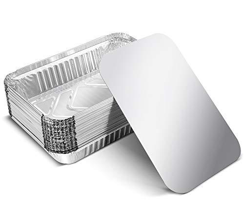 HOUROC Bandejas de Papel Aluminio Desechables[30 Piezas],con Tapas Recipientes Portátiles para Alimentos para Barbacoas Resistentes al Calor[21 x 14,7 x 4,5 cm]