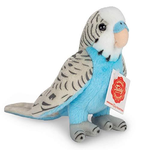 Teddy Hermann 94159 Wellensittich blau 13 cm, Kuscheltier, Plüschtier