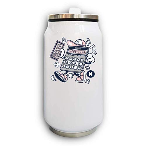 Iprints Cartoon Style Calculator Urban Math probleem Thermische Beverage kan thermos
