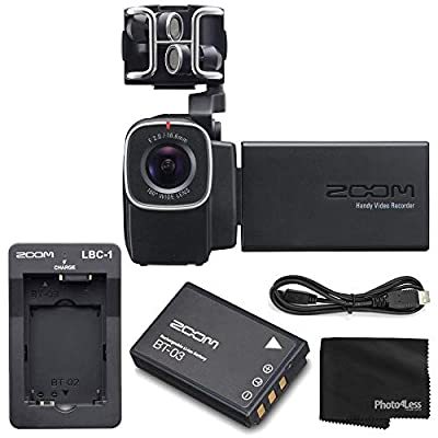 Zoom Q8 Handy Video Recorder with Interchangeable Mic Capsule System + Zoom BT-03 Rechargeable Battery + Zoom Lithium Battery Charger + Cleaning Cloth - Top Value Bundle