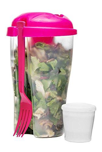 Sagaform to Go Gobelet avec Fourchettes Et Récipients pour Vinaigrette Salade Gobelet Réservoir À Salade Box Salade De Fruits Yaourt Tasse Rose Bonbon