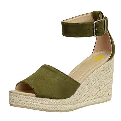 Sandalen-Damen Espadrilles Keilabsatz-Schuhe Riemchensandalen Plateau-Sandaletten Grün 42 EU