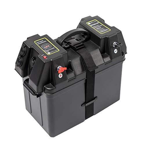 WATTSTUNDE Akku Batteriebox für 100Ah AGM Batterie - für Wohnmobil, Camper, Bootsmotor Elektromotor Aussenboarder (BAX100)