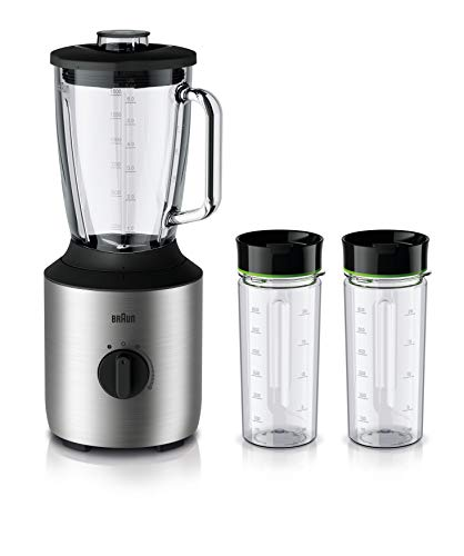Braun PowerBlend 3 JB 3272 Standmixer - 1,5 l Glas-Mixaufsatz, Küchenhelfer zum Zerkleinern, Pürieren & Mixen, inkl. 2 Smothie2Go Flaschen, 800 Watt, Edelstahl