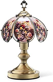 OK Lighting OK-603AB-W12 14.25-Inch Touch Lamp with Flowers with Hummingbird Theme, Antique Brass (Single)
