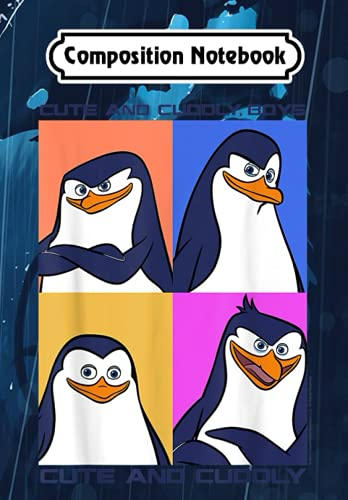 Composition Notebook: Madagascar Penguins Cute And Cuddly Text Poster, Journal 6 x 9, 100 Page Blank Lined Paperback Journal/Notebook