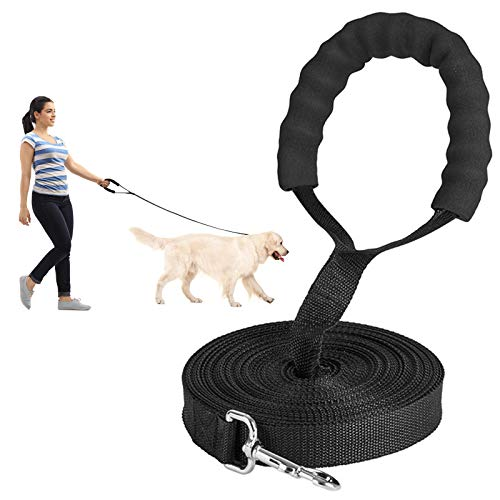 Schleppleine für Hunde 10m - Robuste & Wetterfeste Hundeleine für Kleine bis Große Hunde, Trainings Leine aus langlebigem Nylon mit Gepolsterten Griff für eine erfolgreiche Hundeerziehung- Schwarz