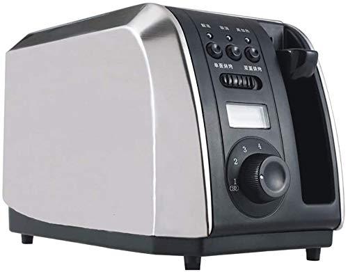 Mopoq Acero inoxidable de plata mini horno con 2 rebanadas de Tostadora, Ajuste rápido de un toque de cinco velocidades, Diseño Anti-Tarjeta, Bandeja for migas desmontable
