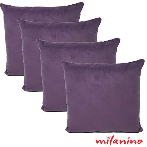 Milanino 4er Set Dekokissen mit Füllung und Bezug | 40x40 cm | Premium Füllkissen samtweich Sofakissen Couchkissen Zierkissen mit Kissenhülle | pflegeleicht | mit Reißverschluss | Design (Lila)