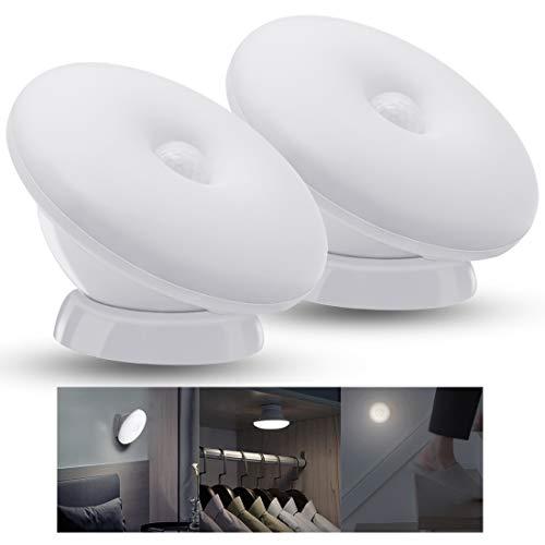 JOFLY Luces Led Habitación Para Niños Blanca/CáLida, Luz Quitamiedos Infantil Giratorio 360°, Luz Nocturna Recargable con Sensor Movimiento - 2 Paquetes (Blanca)