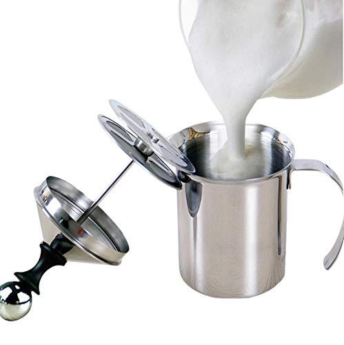 Espumador de Leche Manual 400ml, Batidor de Leche de Acero Inoxidable con Doble Malla para Espumador Cappuccino Espumador de Leche