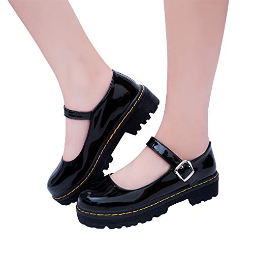 Shuifeng Scarpe lolita femminili cinturino alla caviglia in vernice scarpe lolita con cinturino a t tacco medio scarpe con punta quadrata pelle PU nero/rosa/bordeaux