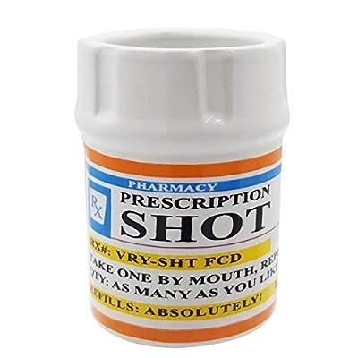 Shot Glasses - Prescription Pill Bottle Shot Glass - 2 oz. RX Prescription Unique Funny Novelty 1 Shot Glass set.