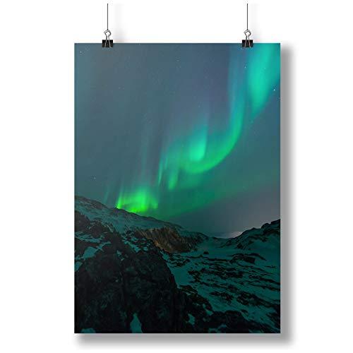 INNOGLEN Green Northen Lights Viewed from A Mountain A0 A1 A2 A3 A4 Satin Foto Poster a3504h