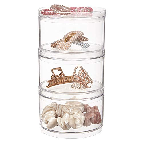 Stackable Clear Plastic Hair Accessory Containers with Lids | set of 3