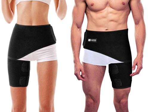Copper Compression Groin Thigh Sleeve Hip Support Wrap. Adjustable Neoprene Brace Hamstring, Quad, Pulled Muscle, Lower Back, Sciatica Nerve, Hip Flexor, Strain, Arthritis (One Size Fits All)