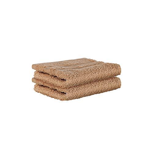 StickandShine 2er Set Premium Frottee Waschhandschuh 15x21 cm in Hellbraun in 500g/m² aus 100% Baumwolle Öko-TEX Standard 100 Materialien