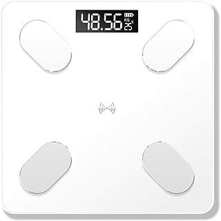 Hummla Báscula de baño Báscula de Grasa Corporal Inteligente Báscula de pesaje electrónica Báscula de hogar Báscula de Grasa para Adultos con Bluetooth, Carga Blanca