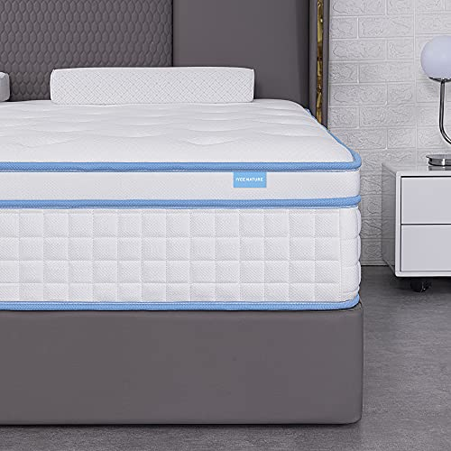 King Mattress,IYEE NATURE 12 Inch King Size Hybrid Mattress Individual Pocket Springs with Memory Foam,King Bed in a Box with Breathable and Pressure Relief,Medium Firm,Bule