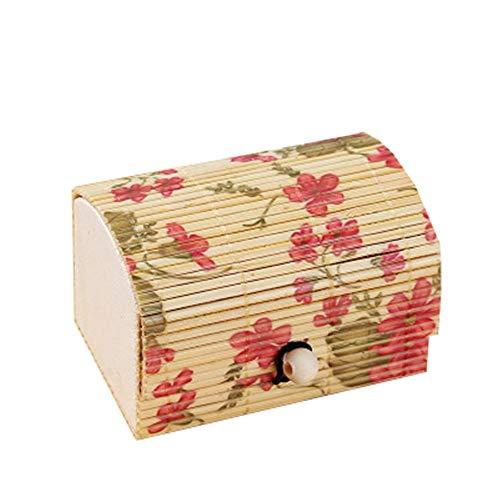 FIONAT Schmuckkästchen Große Kapazität Damen Schatzkiste Form Kreative Bambusvorhang Kleinigkeiten Ring Aufbewahrungsbox, Blumen