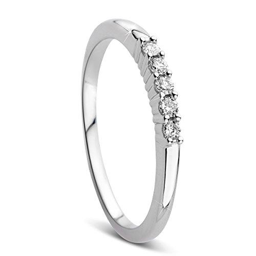 Orovi Damen-Ring Memoire HochzeitsringWeißgold 9 Karat (375) Diamant 0.10 carat Verlobungsring Diamantring